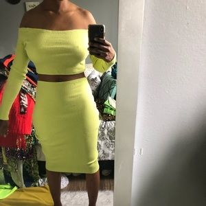 Dresses & Skirts - Neon Green Two Piece Set Custom Made